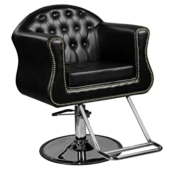 Avondale U0026quot;Youngu0026quot; Black European Salon Styling Chair, Round Base, U  Shaped