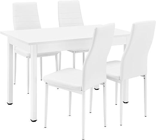 [en.casa] Esstisch Küchentisch Esszimmertisch 120x60cm mit 4 Stühlen weiß gepolstert Sitzgruppe im Sparpaket