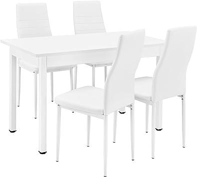 en.casa] Conjunto de Comedor - Mesa Blanca (120x60cm) con 4 sillas ...