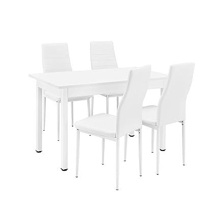 [en.casa]®] Conjunto de Comedor - Mesa Blanca (120x60cm) con 4 sillas  Blancas tapizadas - Mesa de Cocina con Juego de sillas - Set Ahorro