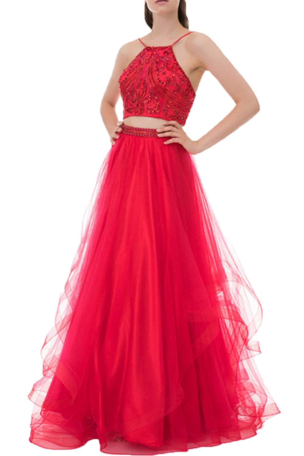 cb0bbdde3b54 Huifany Women's Two Piece Prom Dresses Long Beaded Tulle Formal Evening  Ball Gowns at Amazon Women's Clothing store: