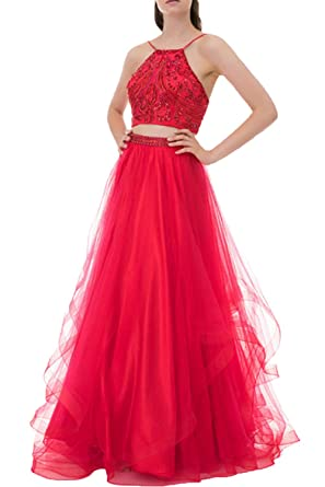 16658aed990 Huifany Women s Two Piece Prom Dresses Long Beaded Tulle Formal Evening  Ball Gowns at Amazon Women s Clothing store