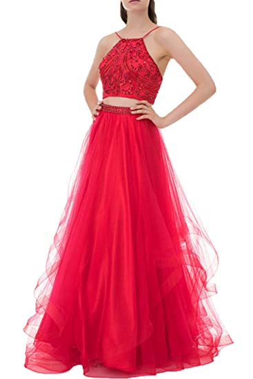 Sparkling Crystal Beaded Two Piece Sweet 15 Dresses Quinceanera Ball Gown Girls Pageant Dress Floor Length Red,Size 6