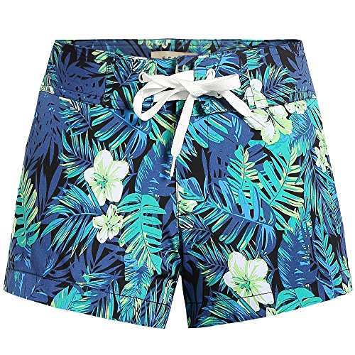 SSLR Women's Print Tropical Drawstring Casual Hawaiian Beach Board Shorts (30, Blue)