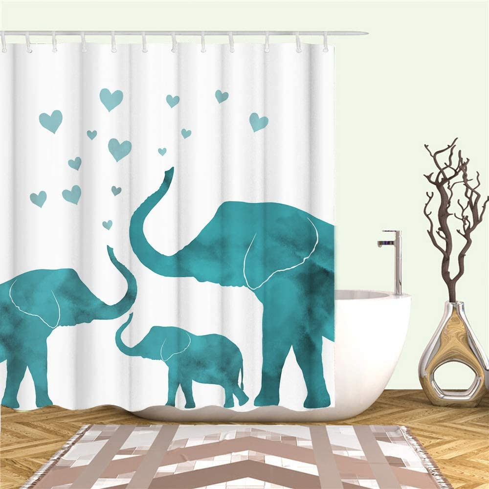 Teal Green Elephant Family Shower Curtain Love Theme Shower Curtain Wild Animal Fabric Curtains Set for Bathroom White and Green Waterproof Bath Curtain