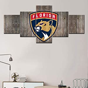 TUMOVO 5 Piece Canvas Wall Art Florida Panthers Logo Painting Ice Hockey Sports Poster and Prints Old Vintage Artwork Home Decor Living Room Wooden Framed Stretched Ready to Hang(50Wx24H inches)