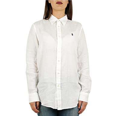 Polo Ralph Lauren Camicia in Lino Donna Mod. 211697461 L: Amazon ...