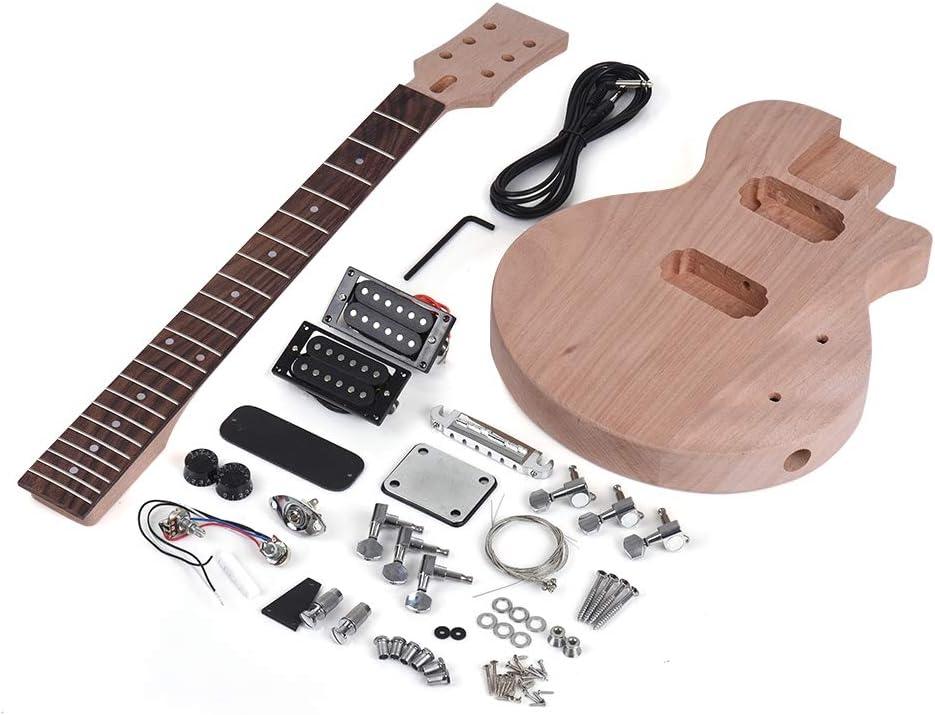 ZGHNAK Kit de bricolaje para guitarra eléctrica sin terminar Cuerpo y cuello de caoba Diapasón de palisandro Pastillas de doble bobina doble