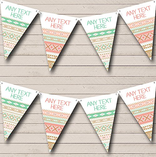 Mint Green Coral Navajo Personalized Baby Shower Bunting Flags Banner