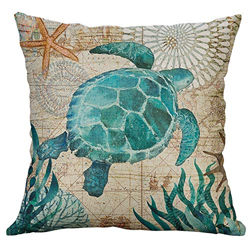 Littay Marine Life Coral Sea Turtle Seahorse Whale Octopus Cushion Cover Pillow Cover -