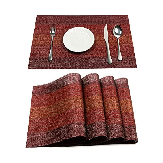 Pauwer Placemats Set of 6 Heat Insulation Stain Resistant Placemat for Dining Table Durable Crossweave Woven Vinyl Kitchen Table Mats Placemat (Red,Set of 6) - NEW DESIGN:Top-grade exquisite design placemats feel good would be the best decoration and Protection to your tables if yo have children. EASY CARE:Washable table placemat,non-fading,non-stain,Not mildew,Wipe Clean,and dries very quickly HIGH QUALITY:FDA Approved and environmentally PVC materials used,very durable placemats,free bending,free cutting,pull force non-deformation. - placemats, kitchen-dining-room-table-linens, kitchen-dining-room - 61E0dGXDVpL. SS570  -