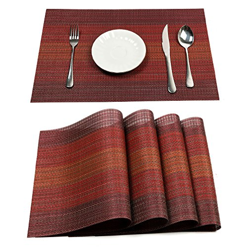 PAUWER Placemats Set of 6 Heat Insulation Stain Resistant Placemat for Dining Table Durable Crossweave Woven Vinyl Kitchen Table Mats Placemat (Red) (Set Table Red Dining)