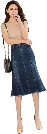 TOPJIN Falda de Jean para Mujer, Talla Grande, Color Azul Oscuro ...