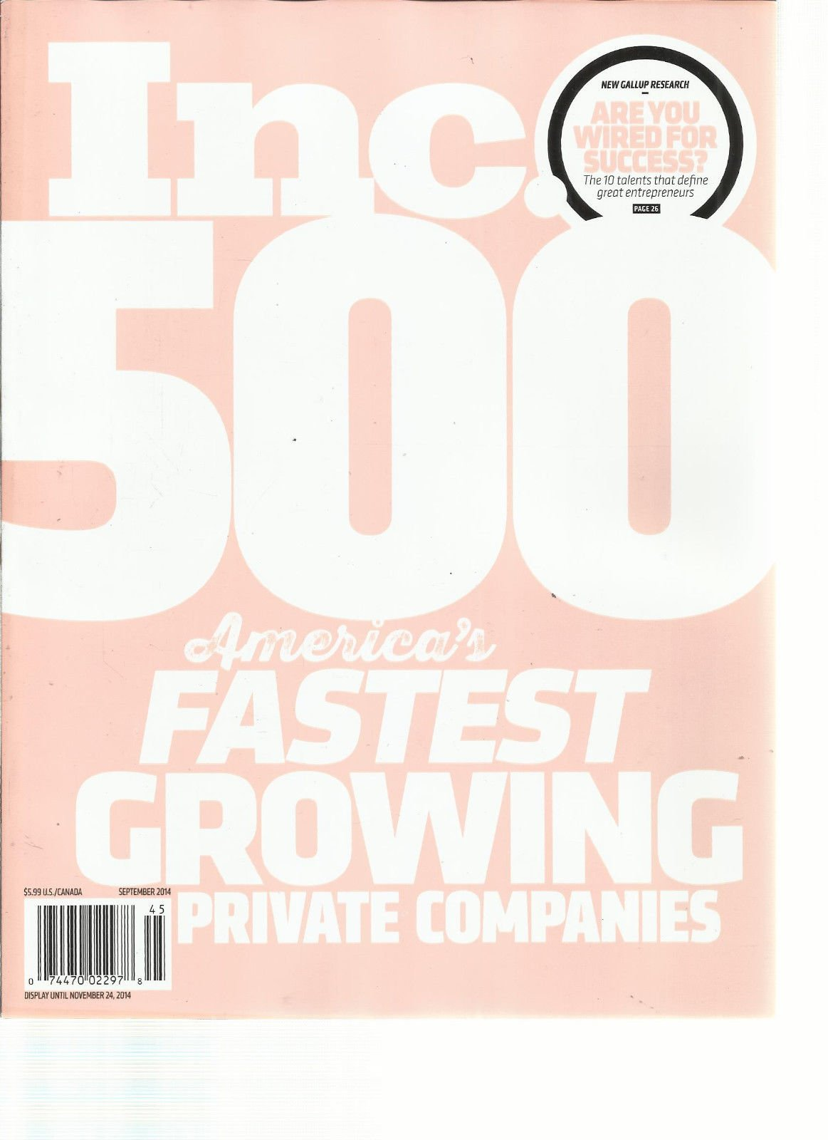 INC 500 AMERICA'S FASTEST GROWING PRIVATE COMPANIES SEPTEMBER, 2014
