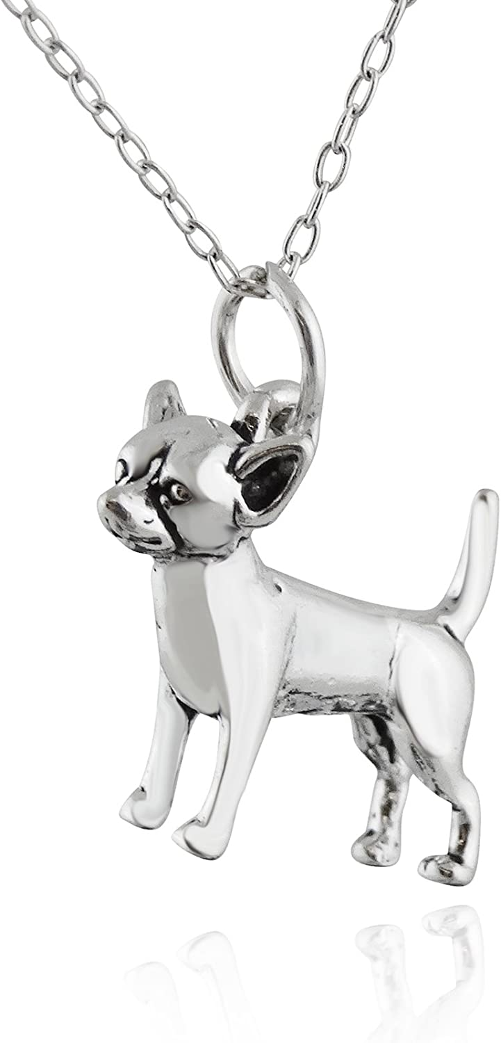 Sterling Silver 3D Detailed Chihuahua Pet Dog Charm