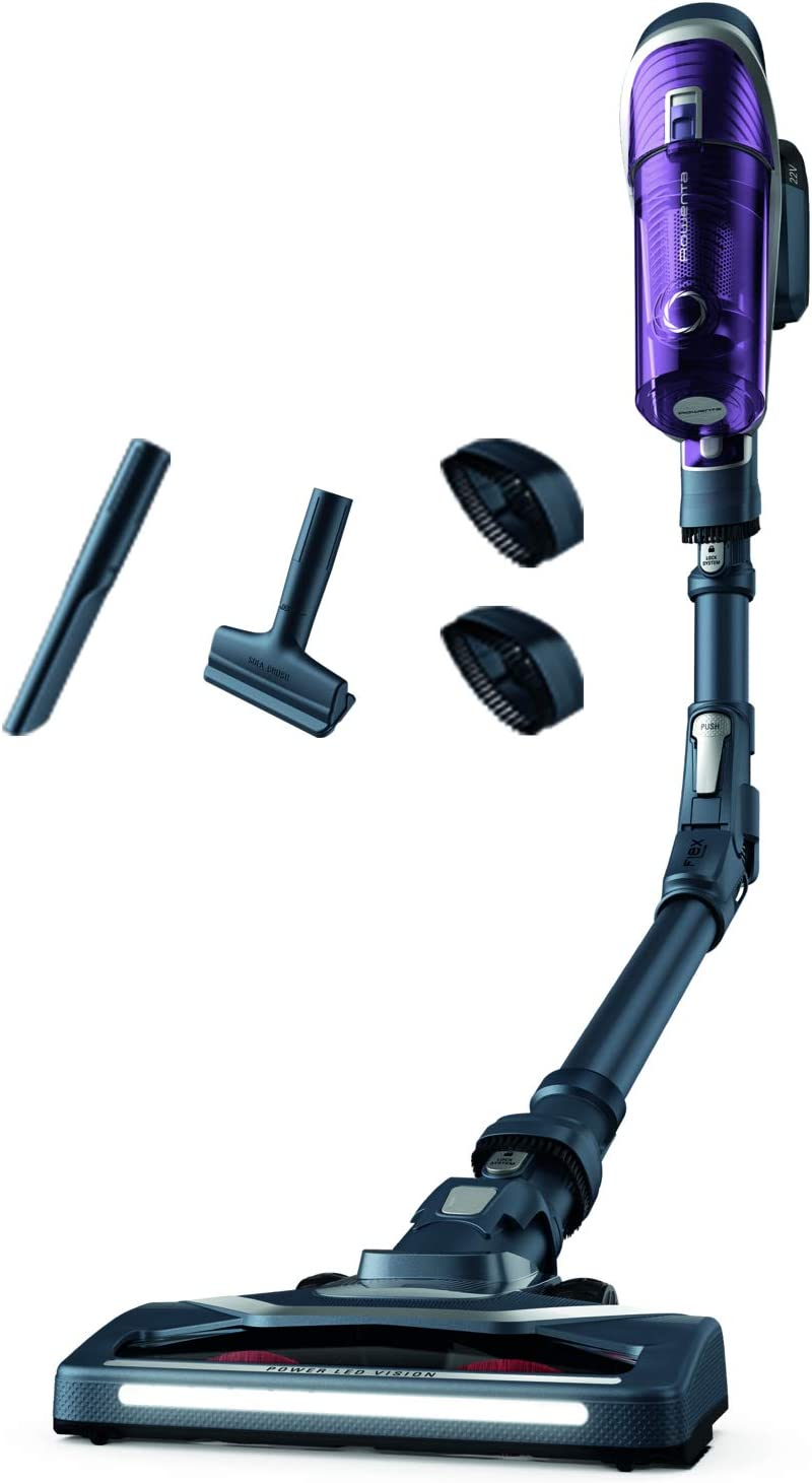 Rowenta X Force Flex 8.60 Allergy Care RH9638 Aspiradora escoba sin cable con gran potencia, batería extraíble de 22 V con hasta 35 minutos de autonomía, tubo flexible y sistema led en el cabezal