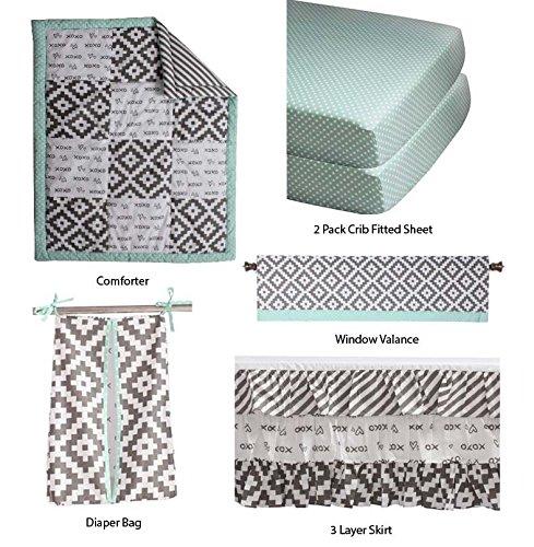 Bacati Love Unisex Patchwork 6 Piece Crib Set, Grey/Mint - Patch 6 Piece Crib