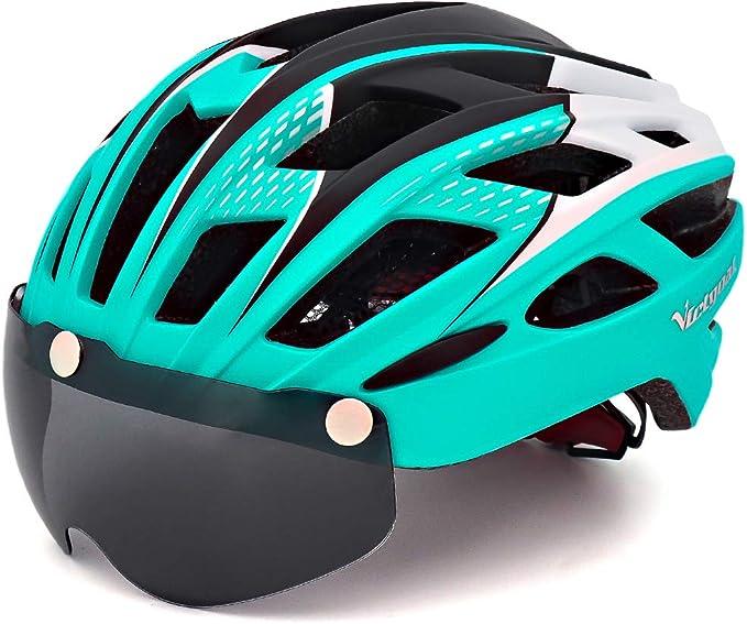 Ciclo bicicleta casco con gafas magnética desmontable visera ...