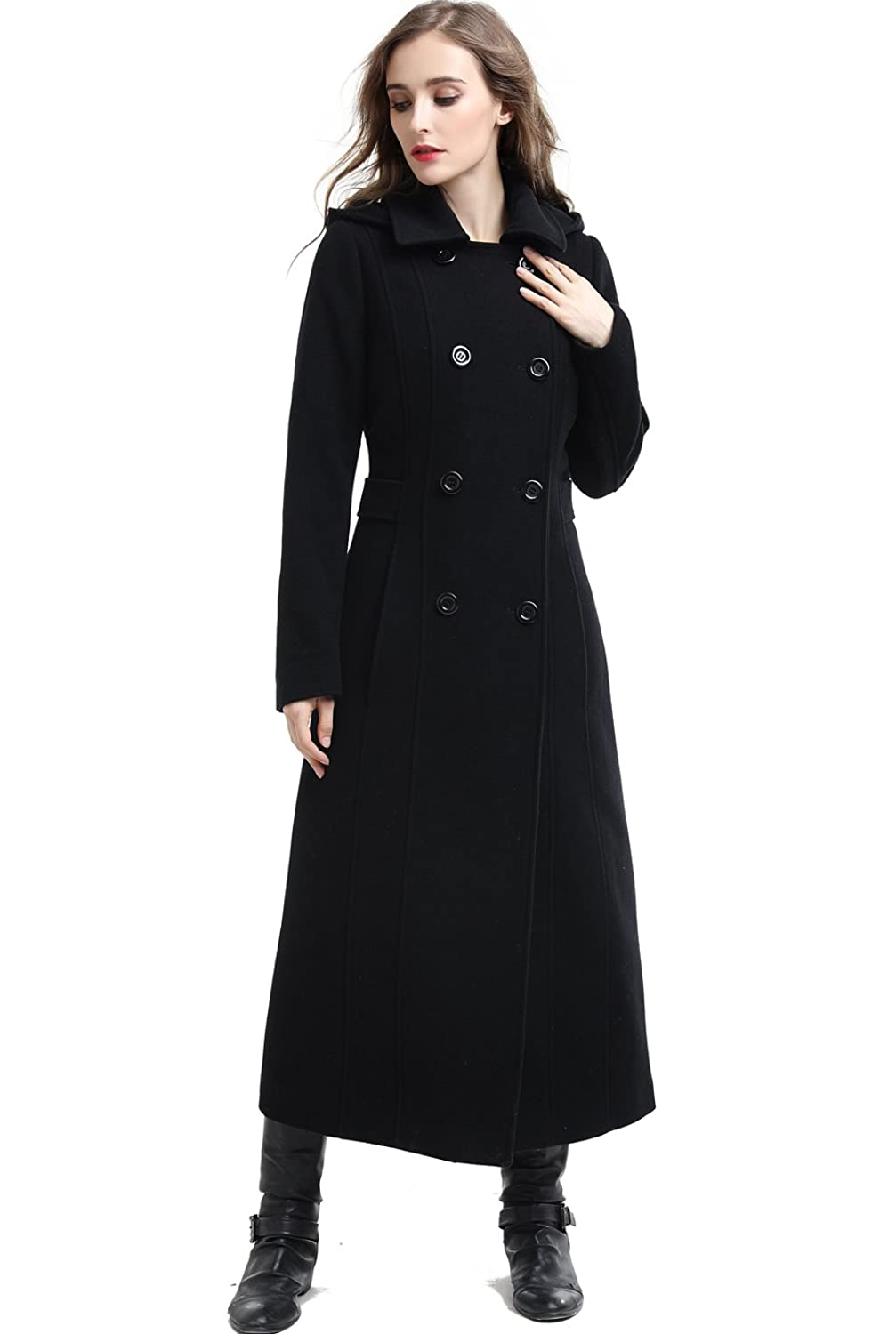 1930s Style Coats, Jackets | Art Deco Outerwear BGSD Womens Mariel Wool Blend Hooded Long Coat $169.00 AT vintagedancer.com