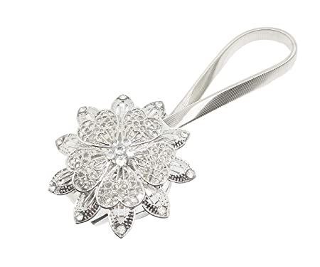 BIPY Curtain Clips Tiebacks Magnetic With Crystal Flower White Shower Adhesive Buckles Holdbacks Tie Backs Pack Of 1 Amazoncouk Kitchen