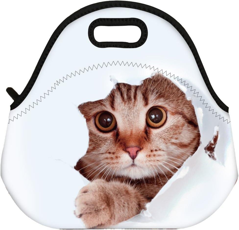 VIPbuy Waterproof 3D Cute Cat Animal Design Women Men Kids Thermal Insulated Neoprene Lunch Bag Tote for School Work Outdoor