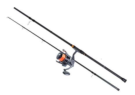 Black Spinning Fishing Rod Shakespeare Firebird  8 ft  Red Reel and line