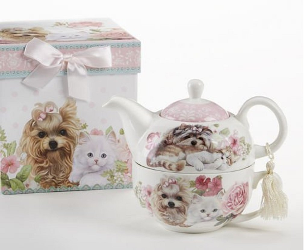 Delton Products Puppy Dog & Kittens Pattern Porcelain Tea for One Tea Pot by Delton