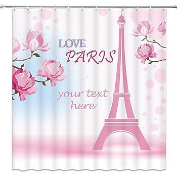 Feierman Pink Love Paris Shower Curtain Decor Romantic Eiffel Tower Fabric Bathroom Set With Hooks 70x70Inches