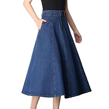 Osave Womens Long Maxi Flowy Denim Skirts Girls A Line Jean Skirts
