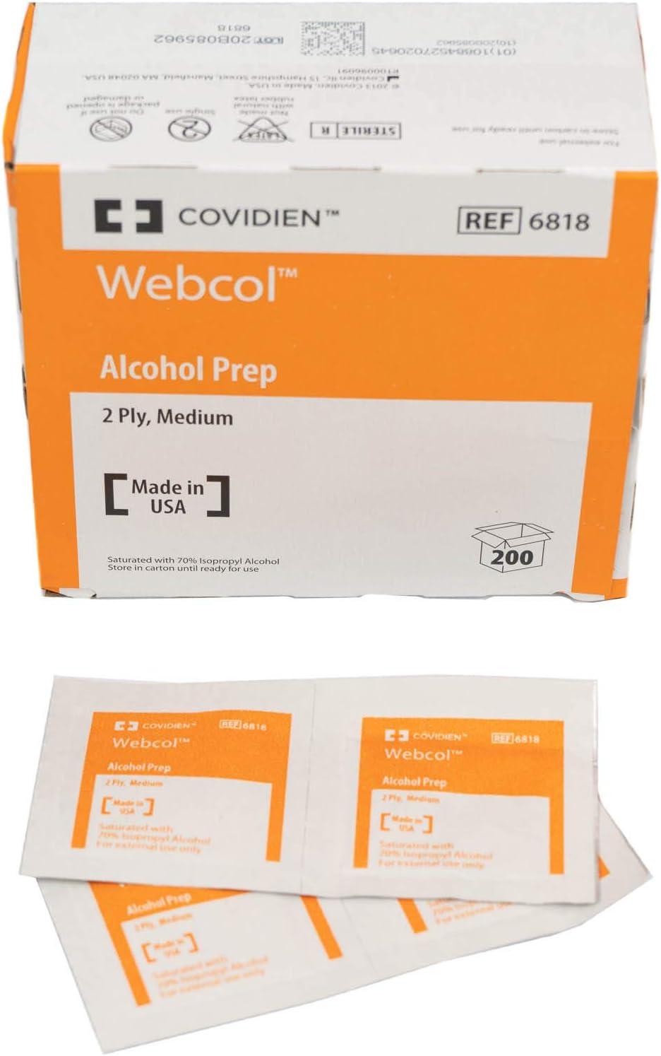 Kendall WEBCOL Alcohol Preps (Sterile), Medium, 2-ply