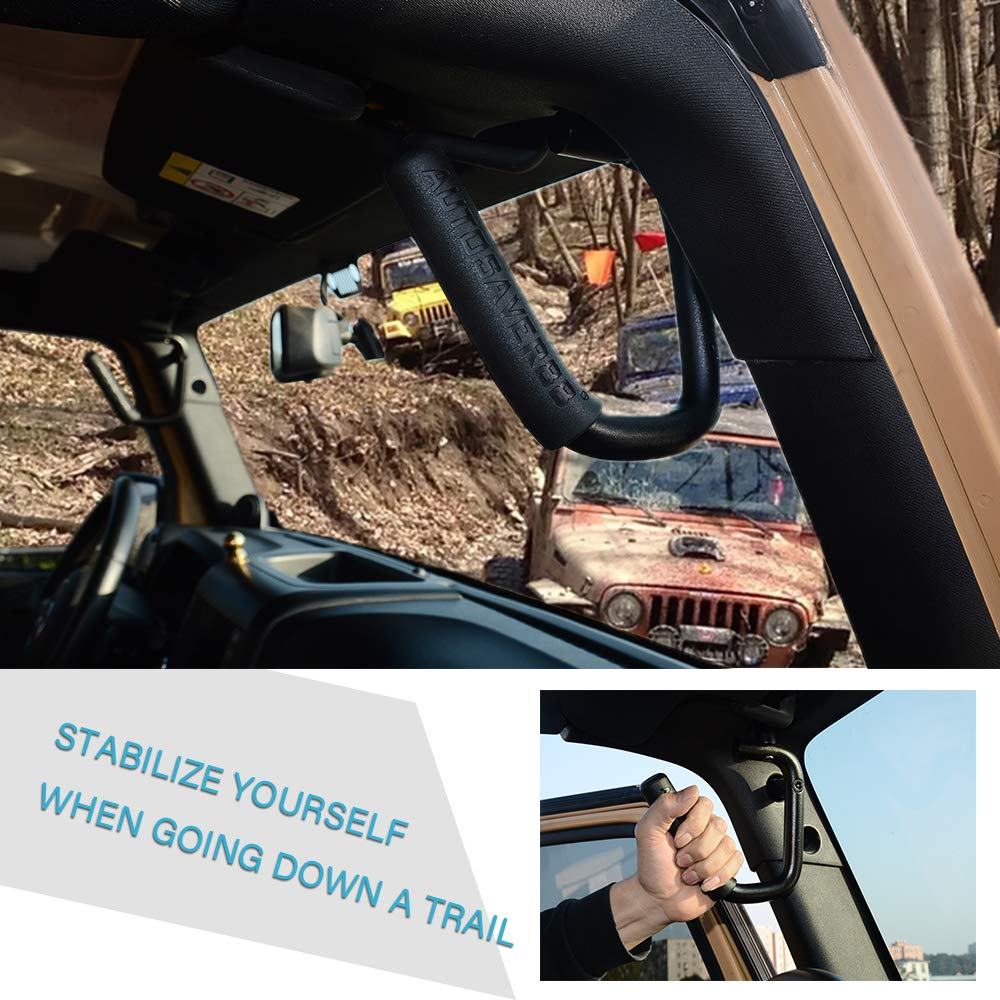 Red AUTOSAVER88 Front Rear Grab Handle Bar Kit Compatible for 2007-2018 Jeep Wrangler JK Unlimited 4 Doors Solid Steel Grab Bar