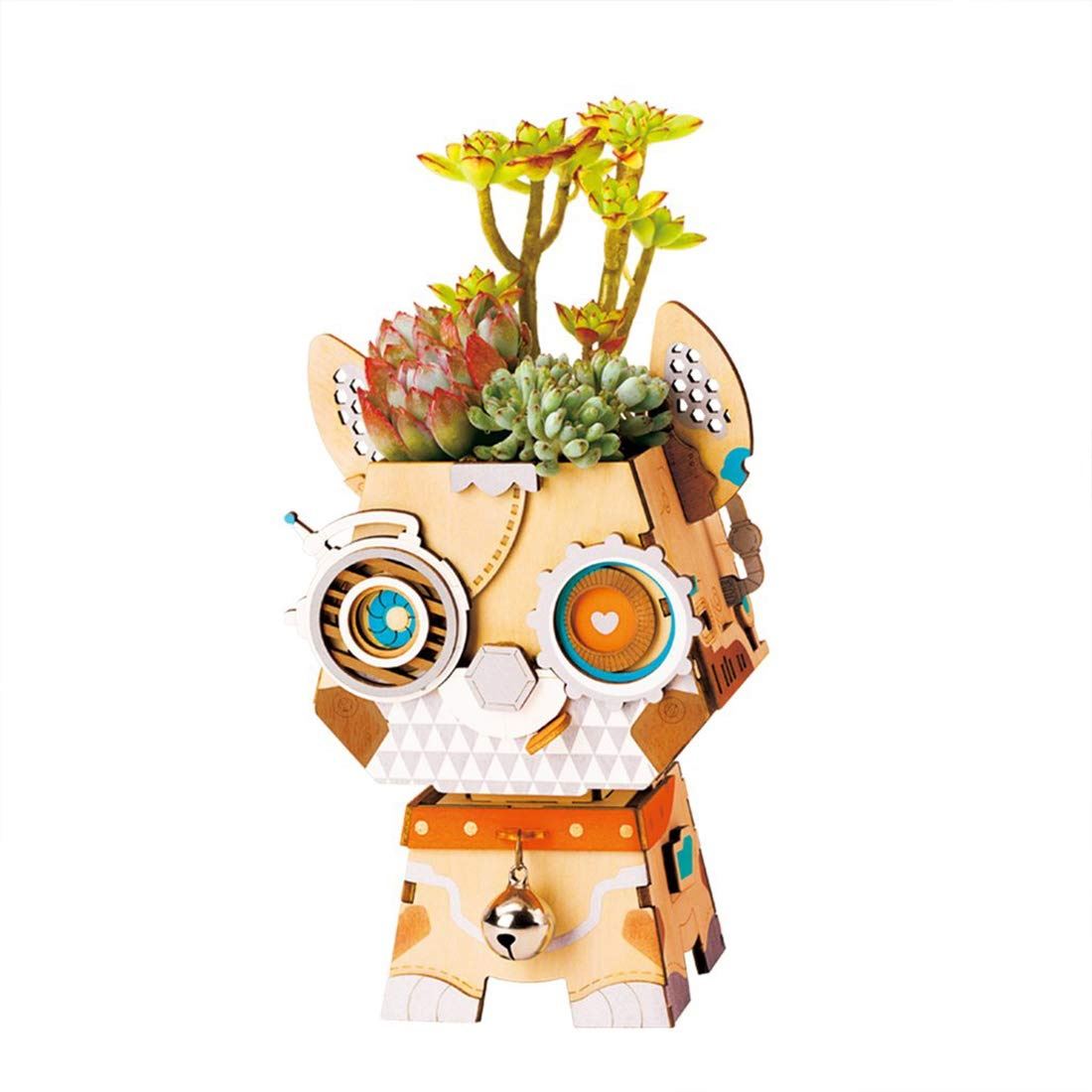 3D Wooden Puzzle Flower Pot DIY Cartoon Green Plant with Hole Flower Pot Office Decoration Birthday Children and Adults 4.25In4.17In6.54In (Pot Puppy)