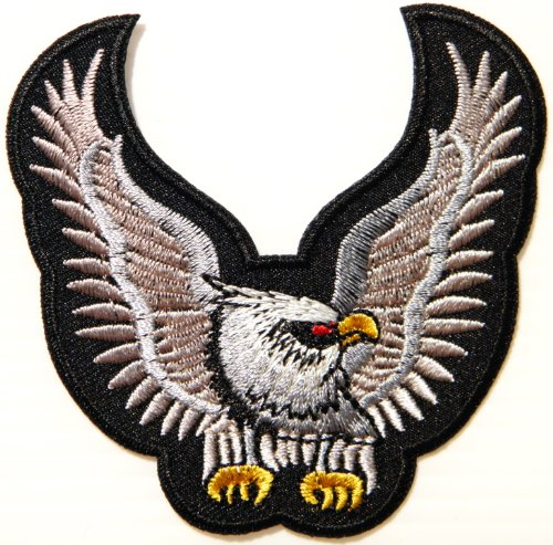 Biker Costume Scout (Eagle Hawk Bald Biker Rider Jacket T shirt Patch Sew Iron on Embroidered Applique Badge)