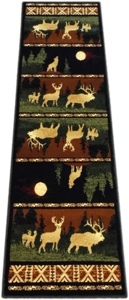Cabin Style Area Rug Runner 2 Feet 2 Inch X 7 Feet 2 Inch Design # L-382