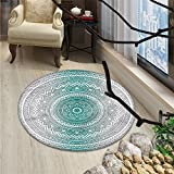 Grey and Teal Round Area Rug Mandala Ombre Design Sacred Space Geometric Center Point Boho Meditation ArtOriental Floor and Carpets Grey Teal