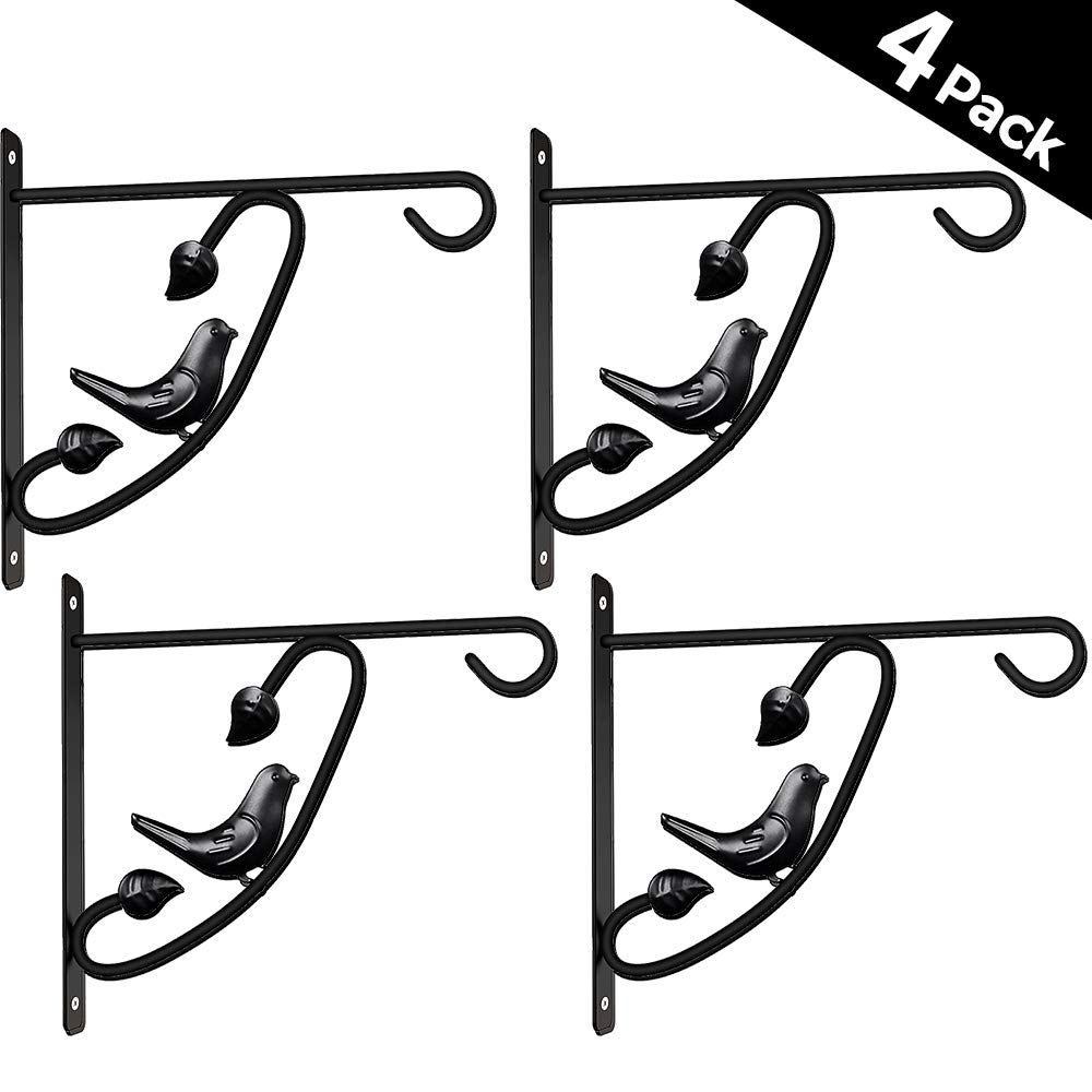 4 Pack Hanging Plants Bracket 12in Wall Planter Hook Flower Pot Bird Feeder Hanger for Fence And Trees Wind Chime Lanterns Hanger Outdoor Indoor Patio Lawn Garden Shelf Screw Mount against Door Arm