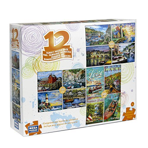 12 Puzzles in 1 Box Family Puzzle Pack (Various Artists) Lighthouse, Ships, Boats, Sail Boats, Ocean, Sea Ports, Docks, Nautical - 1 Puzzle Pack