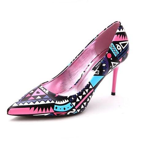YIXINY Zapatos de tacón Estilo Étnico Colores Mezclados Zapatos De Tacón  Alto Zapatos De Mujer Stiletto bc926eb3ff6c