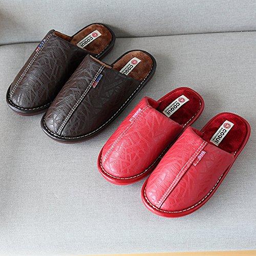 Cwaixxzz Invernale Poliuretano Pelle Spessore Scivoloso Coppie Pantofole Trascinare Cotone Le Uomini Gli Calde La Impermeabile Rimangono Pantofole Felpa Per E Pavimento Di 0A0IwrZ