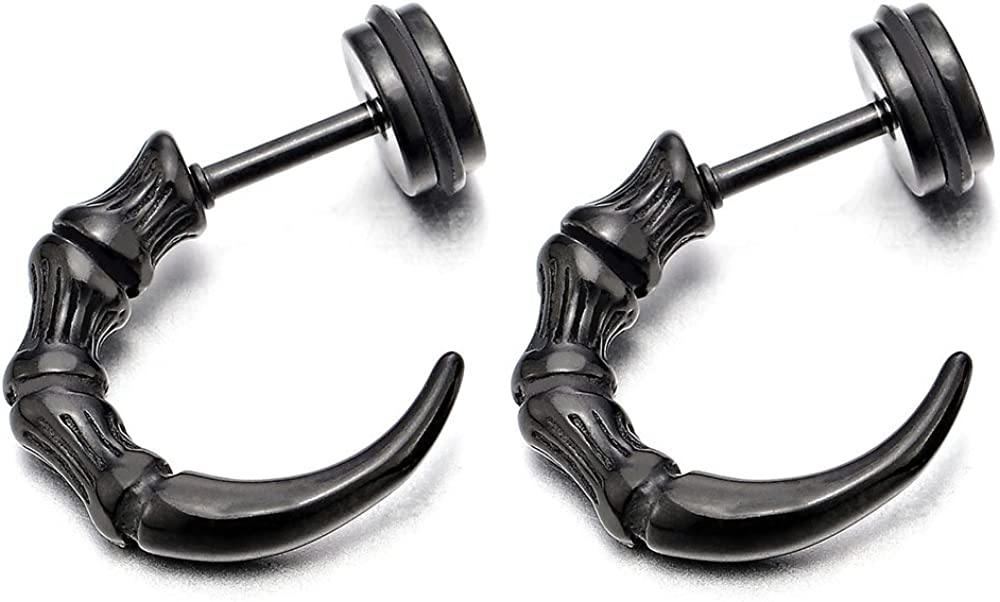 Retro Style Half Hoop Claw Tail Stud Earrings for Man, Stainless Steel, Screw Back, 2 Pcs