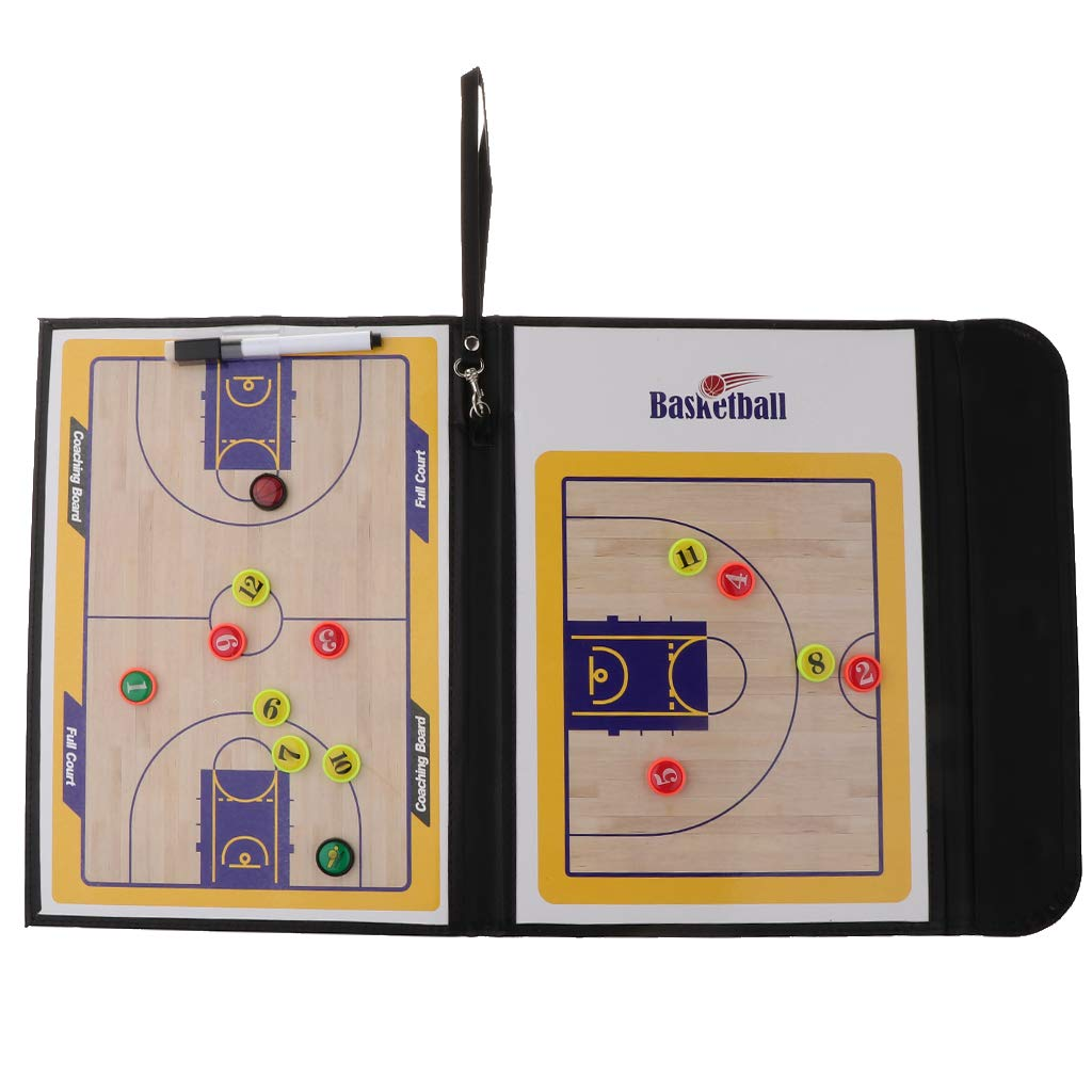 IPOTCH Foldable Basketball Coaching Board Training Premium Two-Side Clipboard with Marker Pen Magnetic Tiles