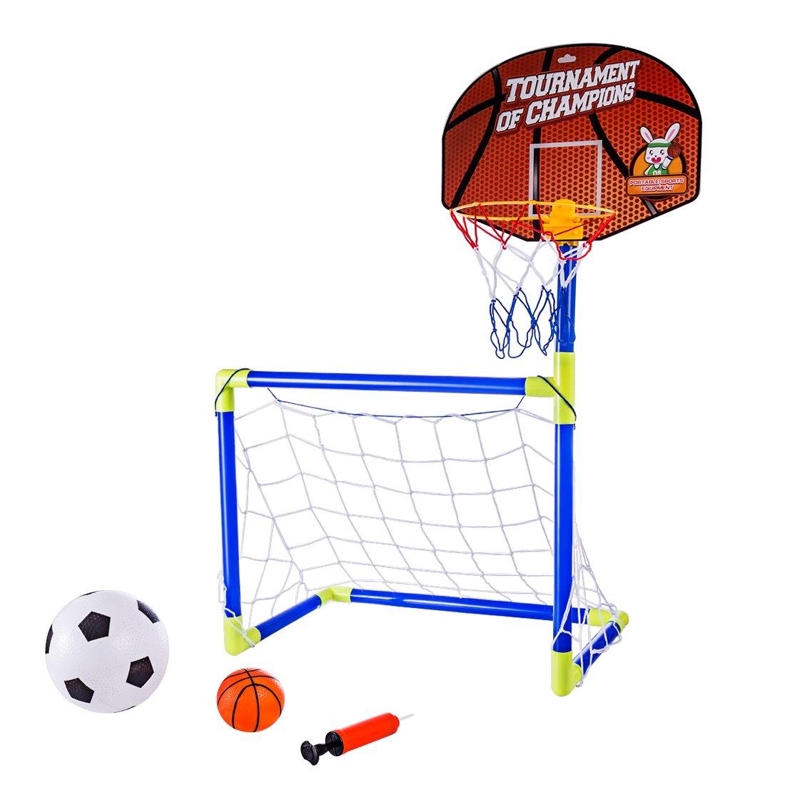 c4777891b5e96 Lommer Enfant But de Foot et Panier de Basket 2 Fonction Mini Cage de Foot  But ...