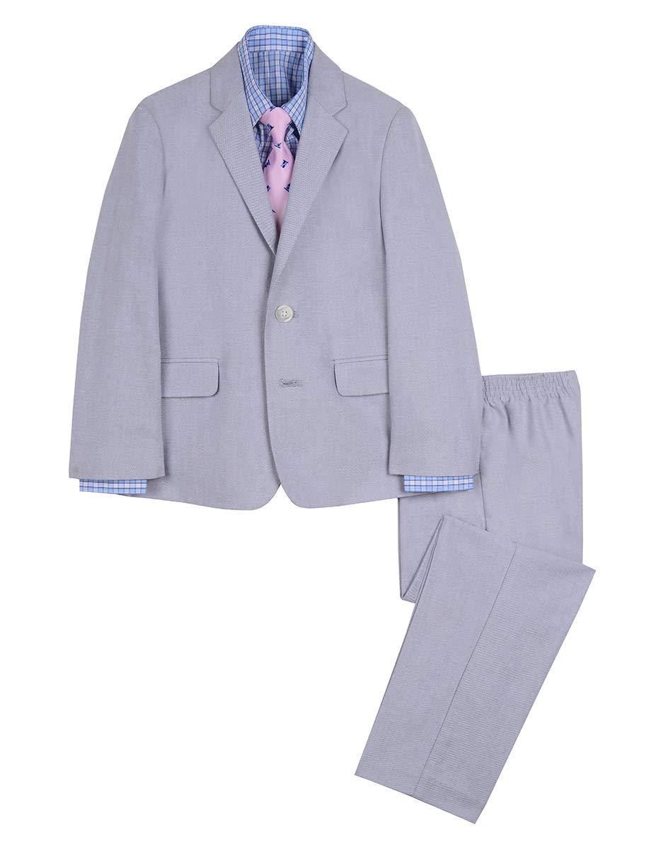 Nautica Boys' 4-Piece Suit Set with Dress Shirt, Tie, Jacket, and Pants, mouse grey, 7