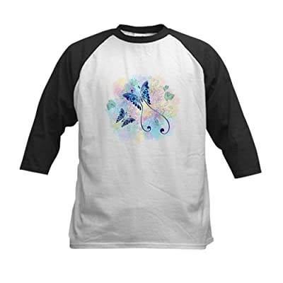 Truly Teague Kids Baseball Jersey Long Tailed Butterfly With Flowers - Black/White, Small (6-8)