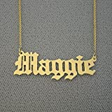 Solid 14k Gold Name Necklace Personalized Laser Cut Old English Nameplate Charm Necklace