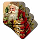 3dRose Vintage Santa Claus with Sack and Toys - Ceramic Tile Coasters, set of 4 (cst_171462_3)