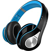 Mpow Bluetooth Headphones Over Ear, Hi-Fi Stereo Wireless Headset, Foldable, Soft Memory-Protein Earmuffs, w/ Built-in Mic and Wired Mode for PC/ Cell Phones/ TV-Blue