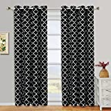 Cheap Meridian Black Grommet Blackout Window Curtain Drapes, Pair / Set of 2 Panels, 52×63 inches Each, by Royal Hotel