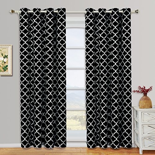Black And White Window Treatments (Meridian Black and White Grommet Room Darkening Window Curtain Panels, Pair / Set of 2 Panels, 52x108 inches Each, by Royal Hotel)