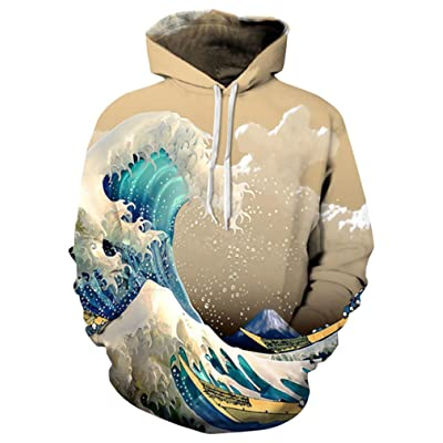 9Yourtime Your Love Great Wave 3D Printed Vintage Hoodie Pullover Sweatshirt